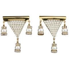 Vintage MAISON LESAGE Triangular Beaded Pearl Dangling Earrings