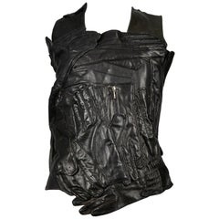 Vintage Maison Martin Margiela Artisanal Black Leather Glove Top 2001