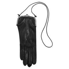 Vintage Maison Martin Margiela Black Leather Glove Necklace Purse 1999
