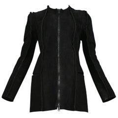 "Vintage Maison Martin Margiela ""Flat Pattern"" Collection Black Suede Jacket 1998"