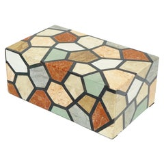 Vintage Maitland Smith Multicolored Tessellated Stone Box
