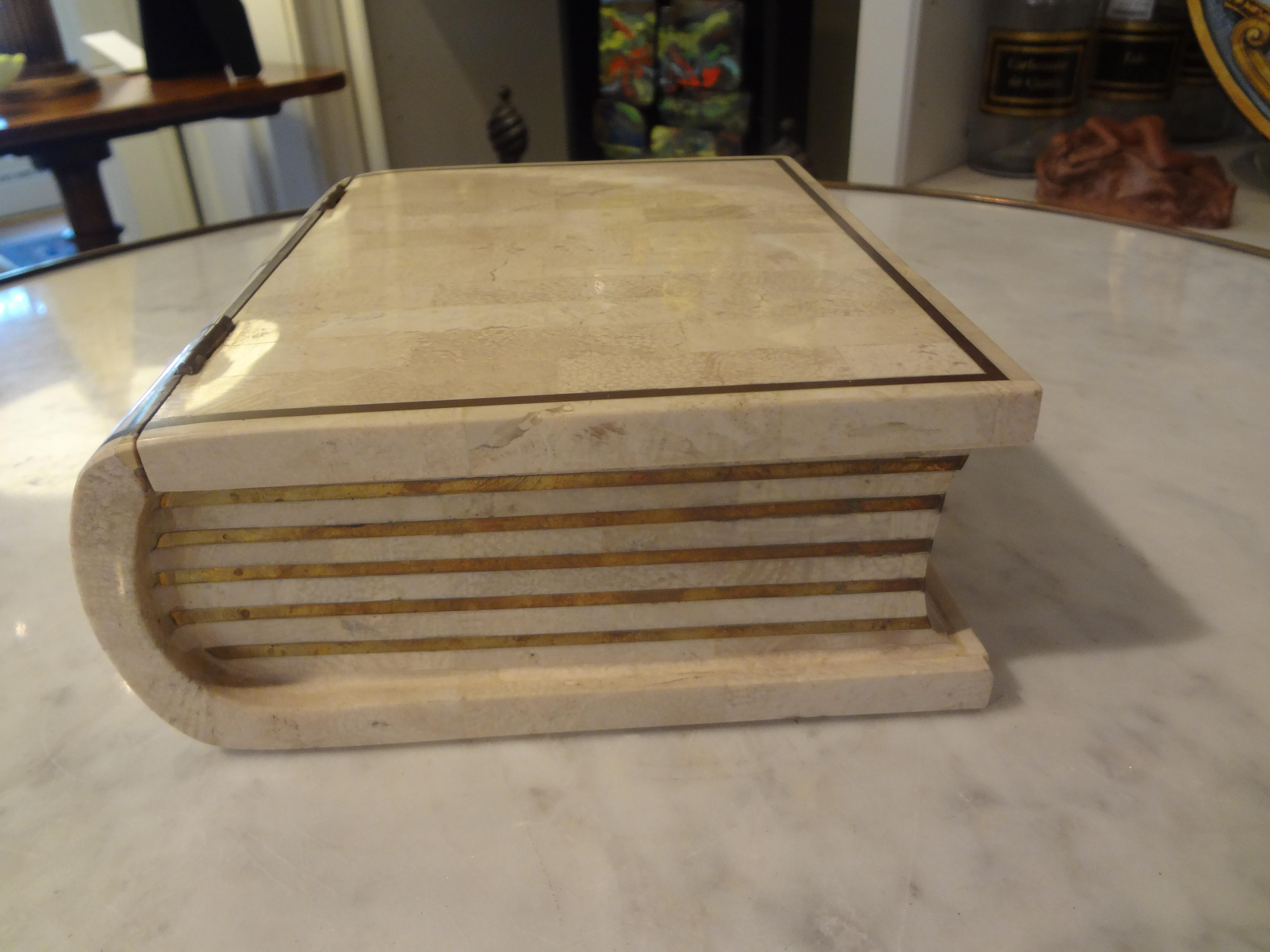 Vintage Maitland Smith Tesated Stone And Br Book Shaped Box At 1stdibs