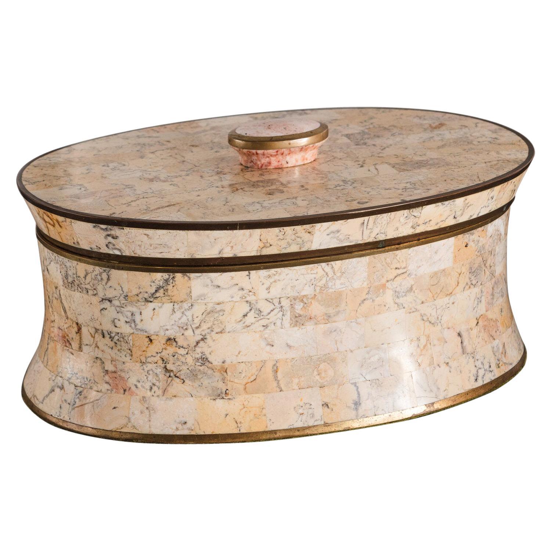 Vintage Maitland Smith Tessellated Stone Box with Brass Trim