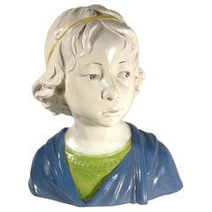 Vintage Majolica Bust of a Young Boy After Della Robbia
