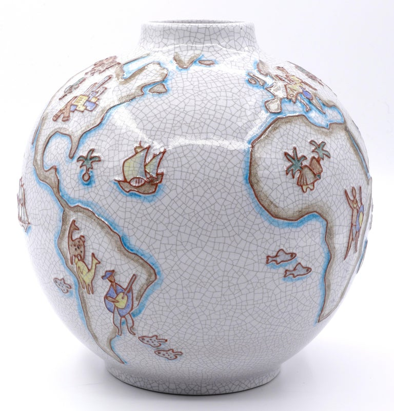 Mid-Century Modern Vintage Majolica vase with world map, by Karl-Heinz Feisst, Germany, 1955 For Sale
