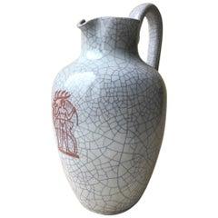 Vintage Majolika Karlsruher Large Art Deco Style Vase, 1950s, Germany