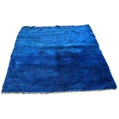 Vintage Majorelle Blue Hand Knotted Berber Rug