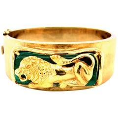 Vintage Malachite 14 Karat Gold Lion Bangle Bracelet, circa 1960-1970