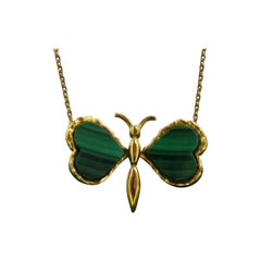 Vintage Malachite Butterfly Pendant Yellow Gold Necklace