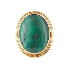 Vintage Malachite Cabochon 18 Carats Yellow Gold Cocktail Ring