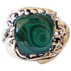 Vintage Malachite Gold Cocktail Ring