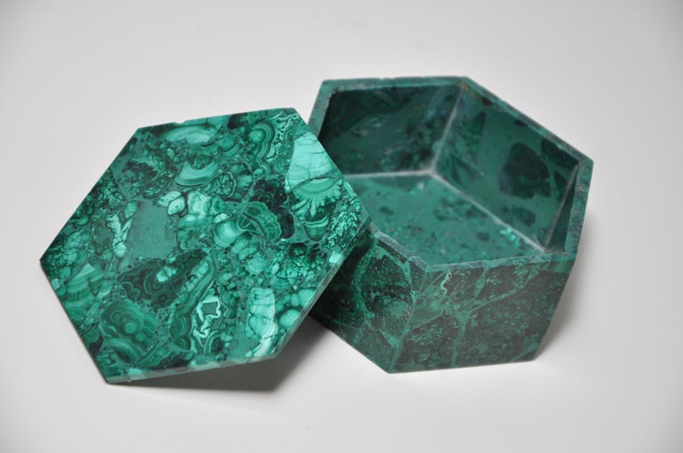 Vintage Malachite Natural Gemstone Green Jewelry Box For Sale 4
