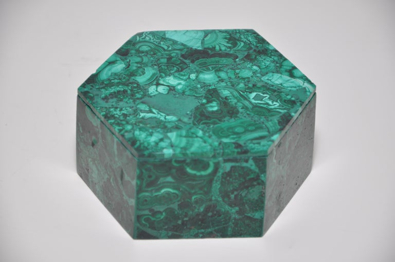 Unknown Vintage Malachite Natural Gemstone Green Jewelry Box For Sale