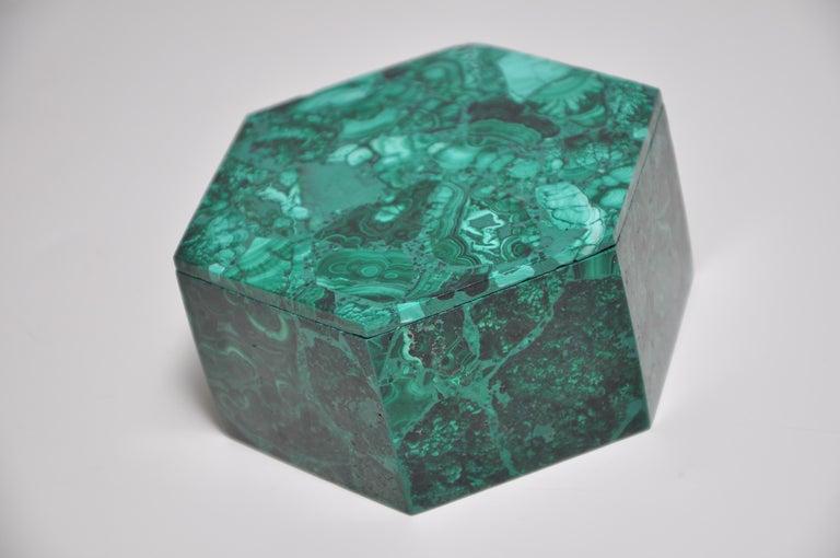 20th Century Vintage Malachite Natural Gemstone Green Jewelry Box For Sale