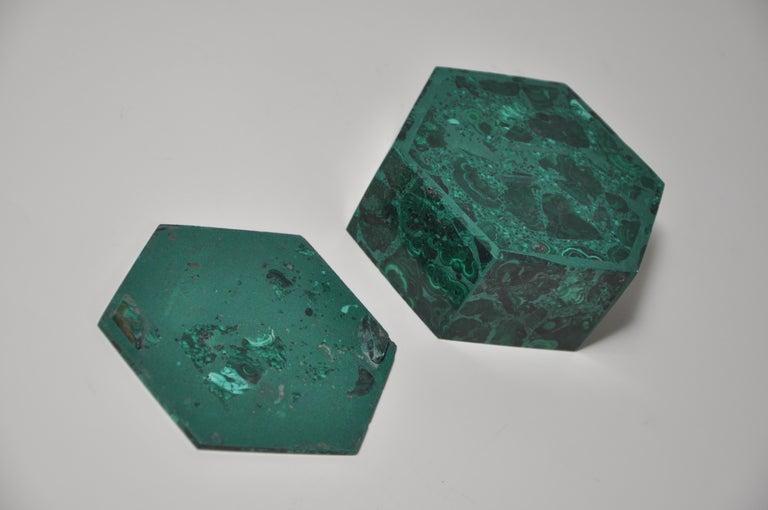 Multi-gemstone Vintage Malachite Natural Gemstone Green Jewelry Box For Sale