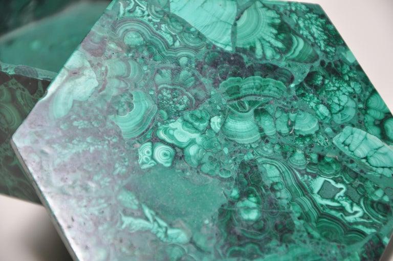 Vintage Malachite Natural Gemstone Green Jewelry Box For Sale 1