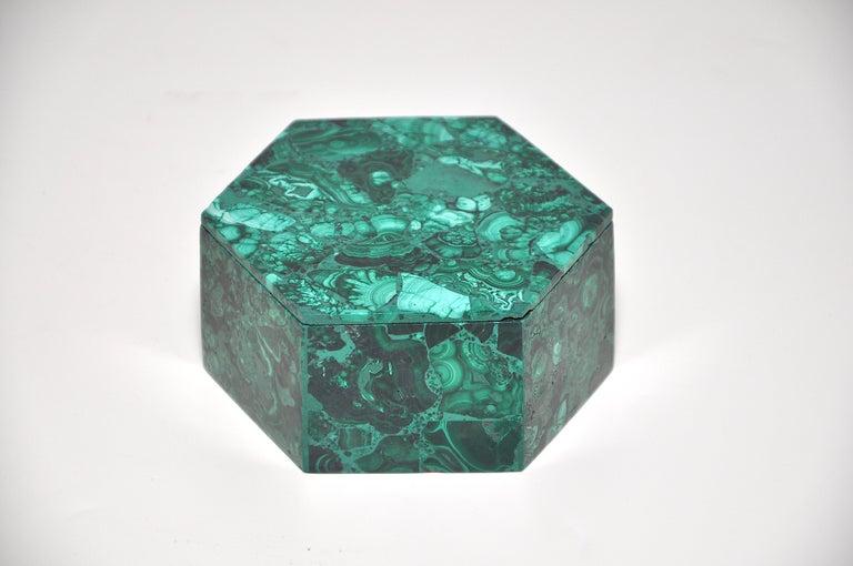 Vintage Malachite Natural Gemstone Green Jewelry Box For Sale 2