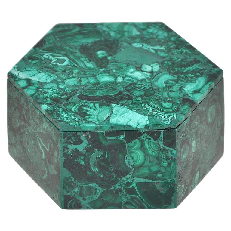 Vintage Malachite Natural Gemstone Green Jewelry Box For Sale
