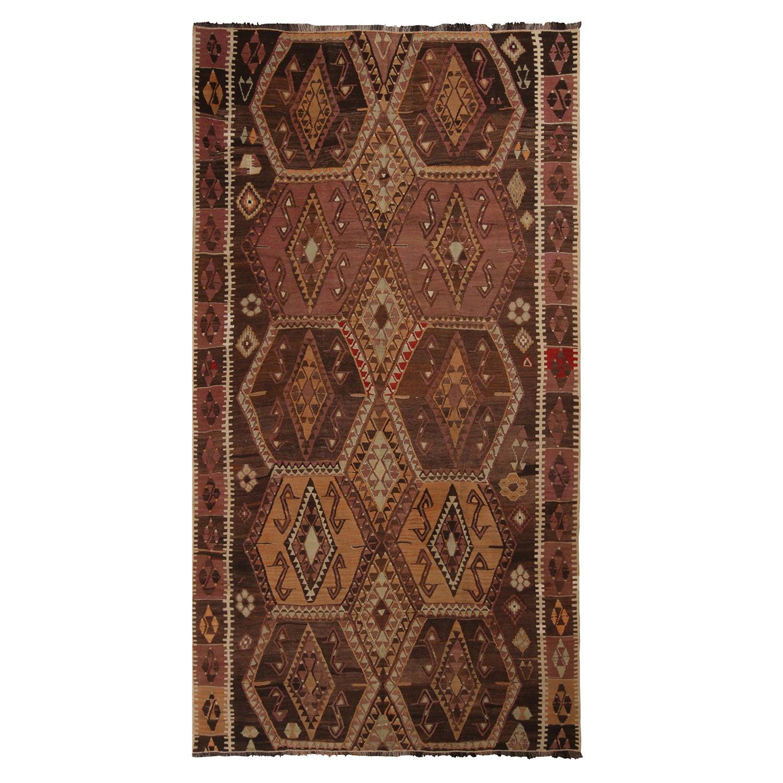 Vintage Malatya Geometric Beige Brown Wool Kilim Rug