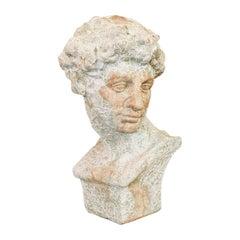 Vintage Male Bust, English, Terracotta, Figure, Neoclassical, David, circa 1950