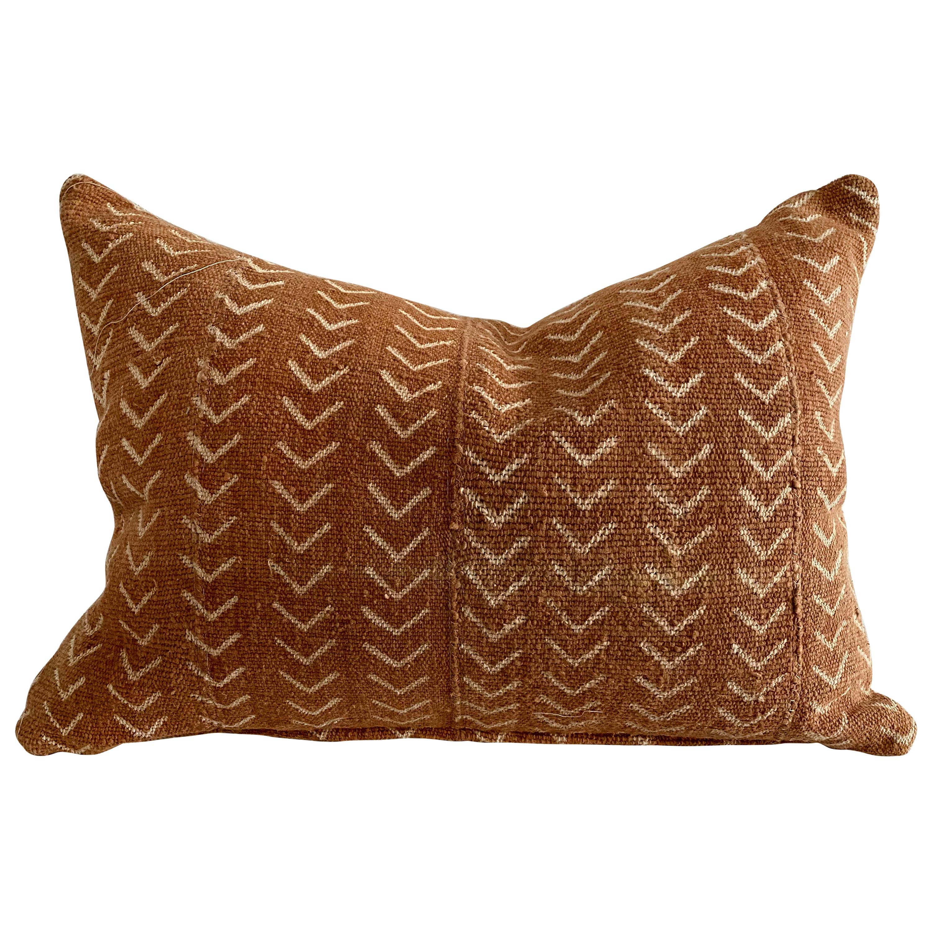 Vintage Mali Cloth African Mudcloth Pillow with Down Feather Insert
