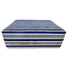 "Vintage Mali Hand-Spun Indigo Blue Stripe Ottoman, ""one-of-a-kind"""