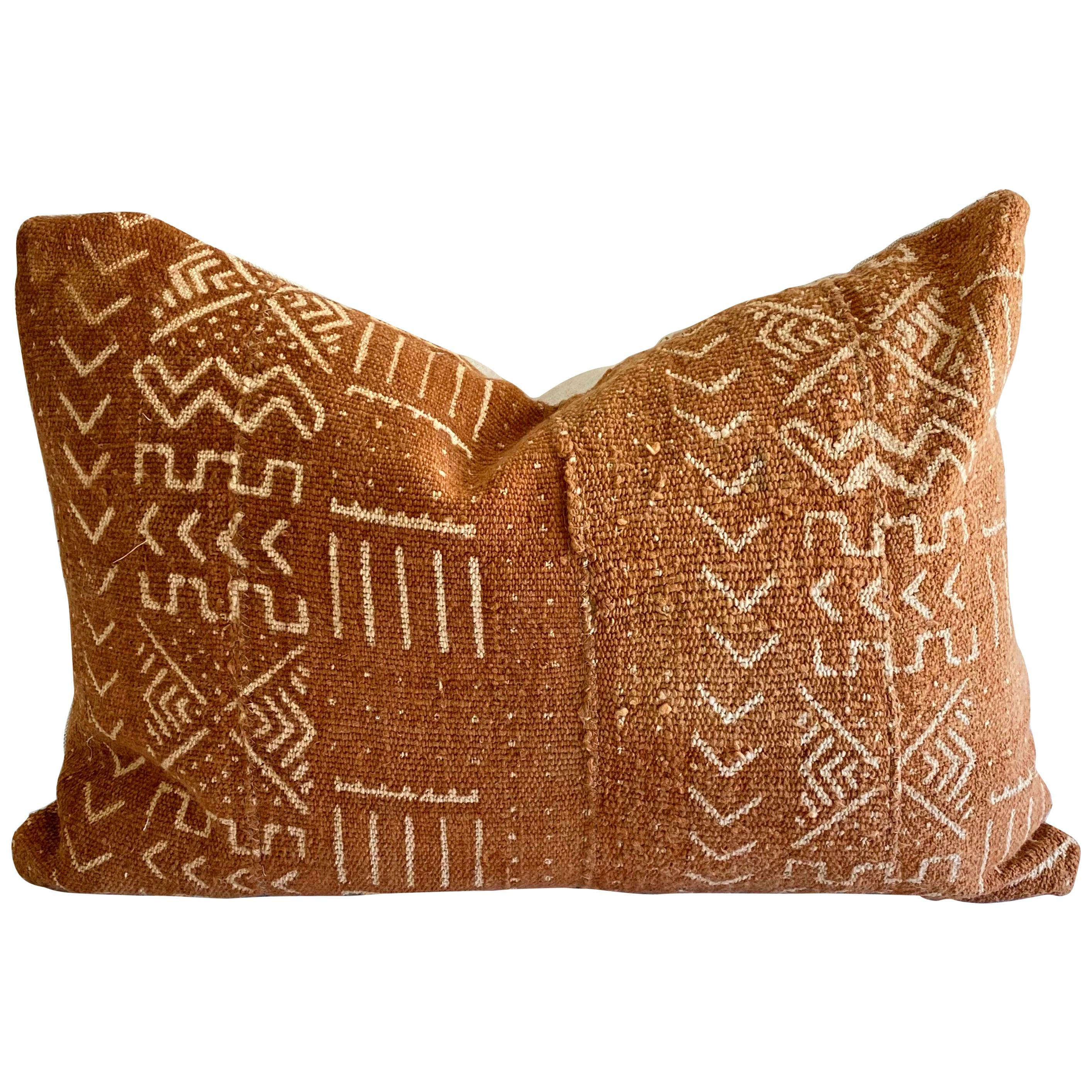 Vintage Mali Mud Cloth Lumbar Pillow with Down Feather Insert