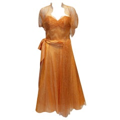 Vintage Mandell Modell London Apricot Lace Dress and Bolero.