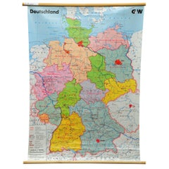 Vintage Map Germany Political Federal States Pull-Down Wall Chart Poster