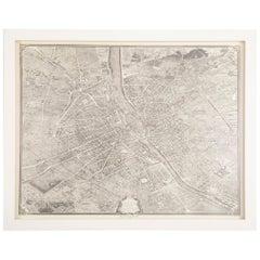 Vintage Map of Paris after the Original Turgot Plan of 1739