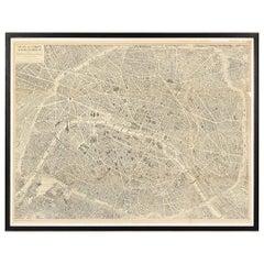 """Vintage Map of Paris, ca. 1950s, """"Plan de Paris à vol d'oiseau"""""""
