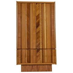 Vintage Maple Burl Walnut Rosewood and Oak Brutalist Armoire Dresser
