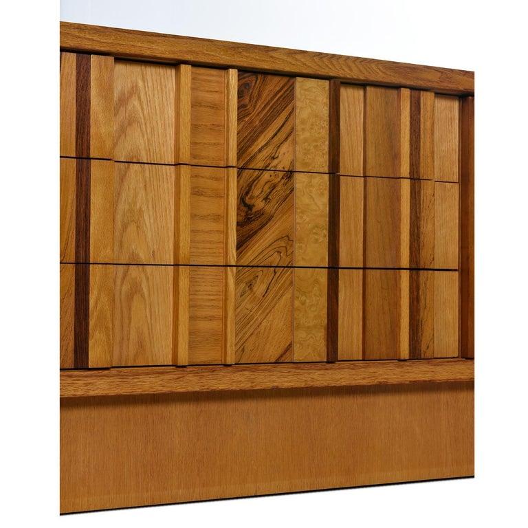Canadian Vintage Maple Burl Walnut Rosewood and Oak Brutalist Credenza Dresser