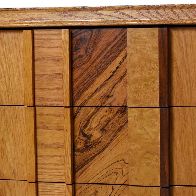 Late 20th Century Vintage Maple Burl Walnut Rosewood and Oak Brutalist Credenza Dresser
