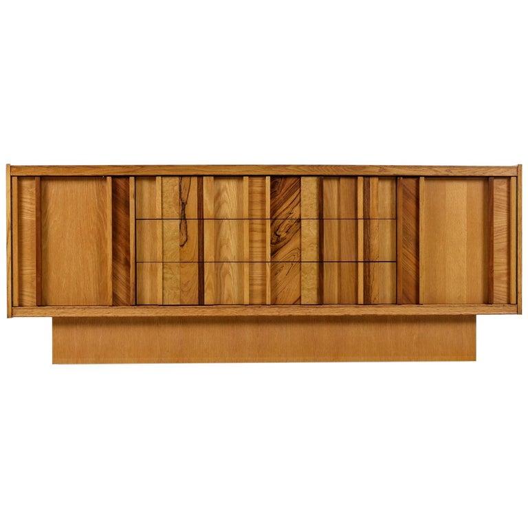 Vintage Maple Burl Walnut Rosewood and Oak Brutalist Credenza Dresser