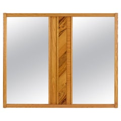 Vintage Maple Burl Walnut Rosewood and Oak Brutalist Mirror