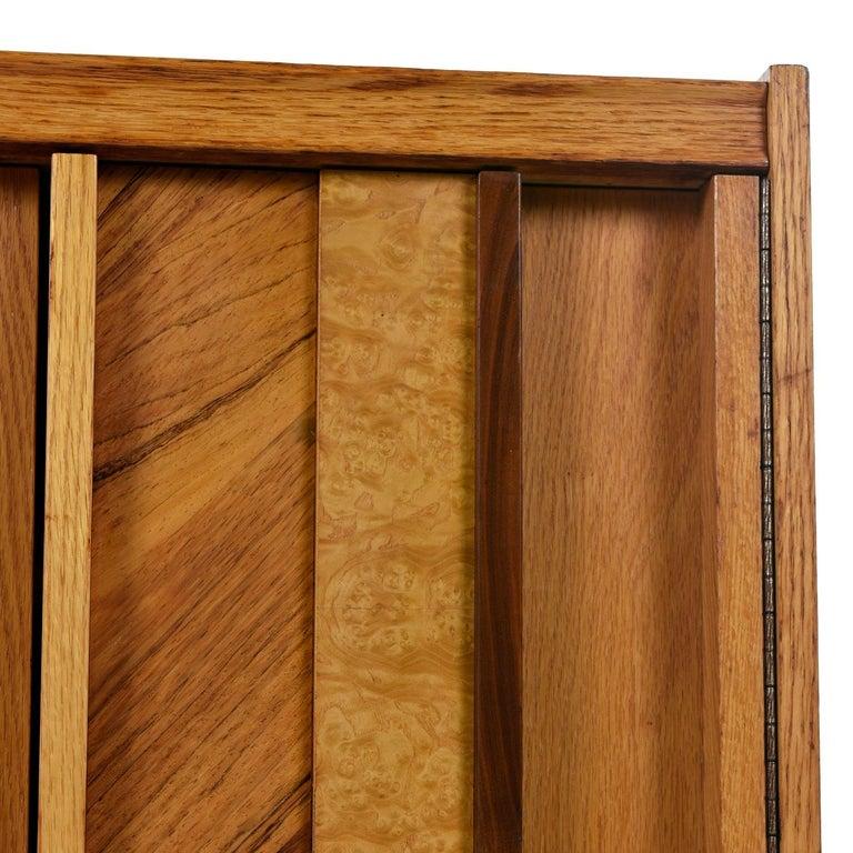 Vintage Maple Burl Walnut Rosewood and Oak Brutalist Nightstand End Table Set For Sale 5