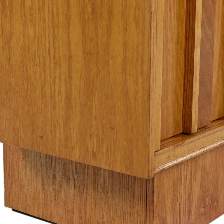 Vintage Maple Burl Walnut Rosewood and Oak Brutalist Nightstand End Table Set For Sale 6