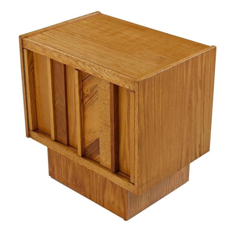Canadian Vintage Maple Burl Walnut Rosewood and Oak Brutalist Nightstand End Table Set For Sale