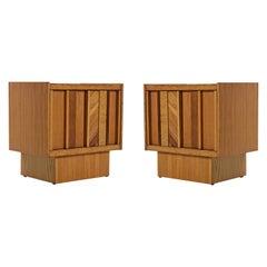 Vintage Maple Burl Walnut Rosewood and Oak Brutalist Nightstand End Table Set
