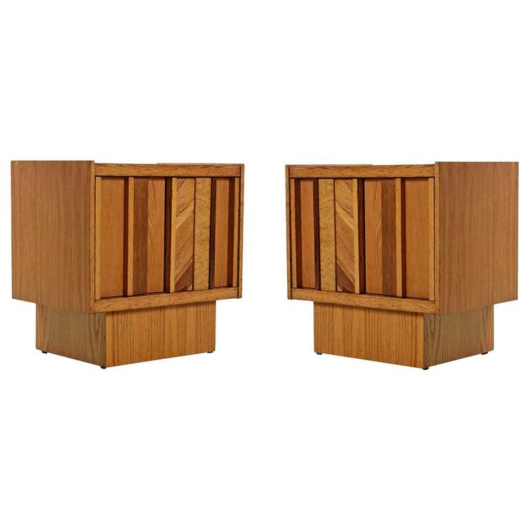 Vintage Maple Burl Walnut Rosewood and Oak Brutalist Nightstand End Table Set For Sale