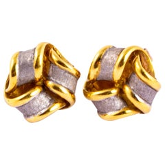 Vintage Mappin and Webb 18 Carat Gold Knot Earrings