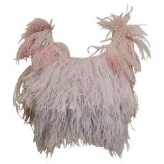 Vintage marabou pink and grey vest