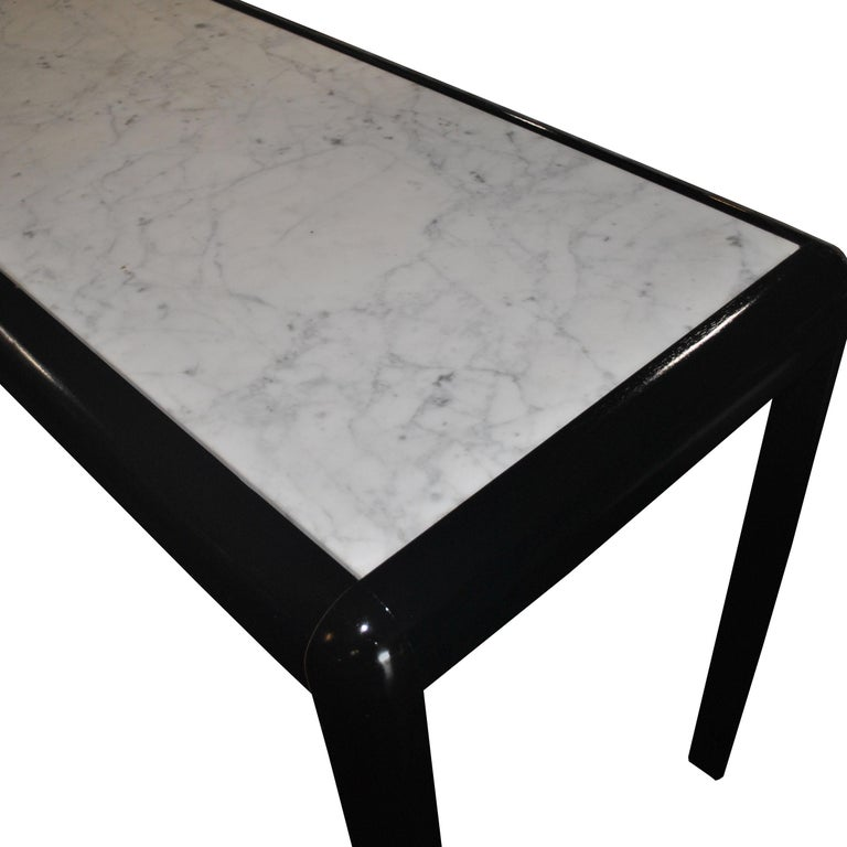 Mid-Century Modern Vintage Marble and Wood Console Table For Sale