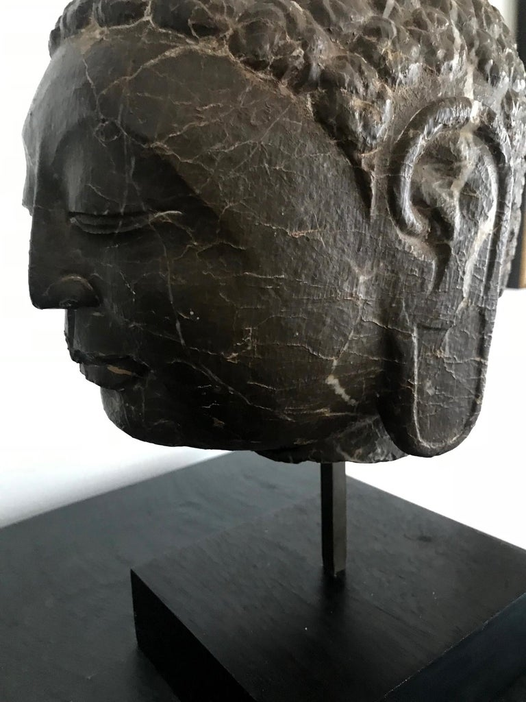 Steel Vintage Marble Buddha Head on Stand For Sale