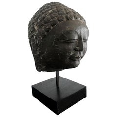 Vintage Marble Buddha Head on Stand