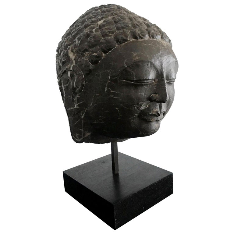 Vintage Marble Buddha Head on Stand For Sale