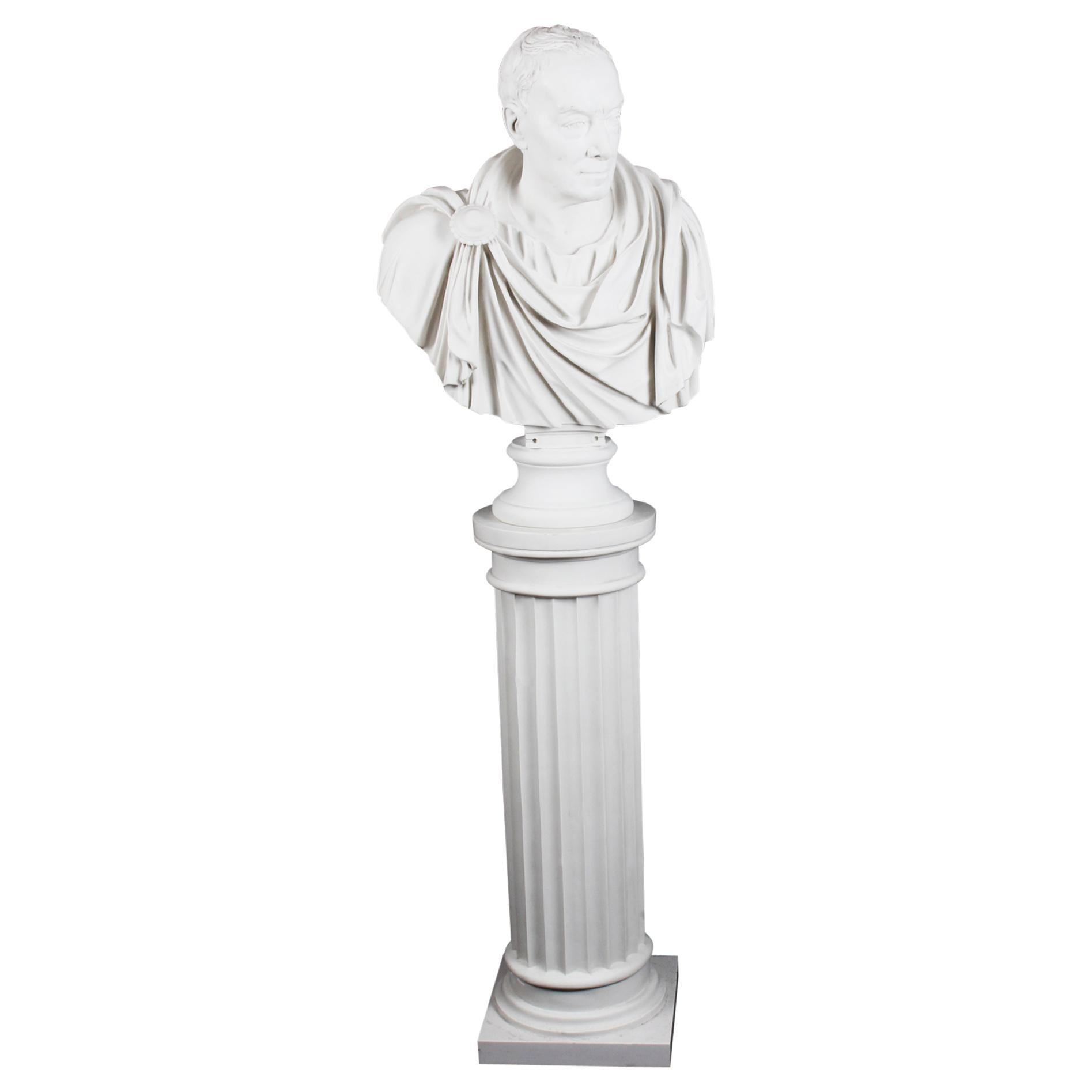 Vintage Marble Bust and Pedestal Roman Statesman Julius Caesar, 20th Century