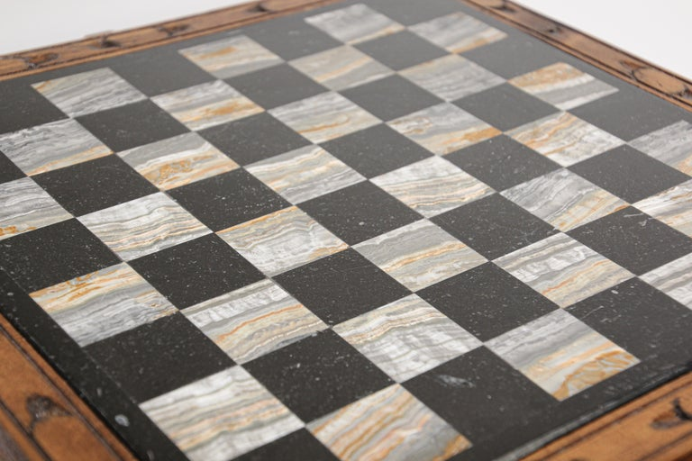 Vintage Marble Chess Board with Hand Carved Black and White Onyx Chess Pieces 4