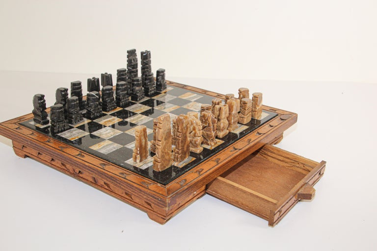 Mexican Vintage Marble Chess Board with Hand Carved Black and White Onyx Chess Pieces